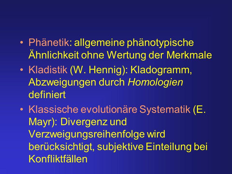 Phänetik: allgemeine phänotypische Ähnlichkeit ohne Wertung der Merkmale Kladistik (W. Hennig): Kladogramm, Abzweigungen durch Homologien definiert Kl