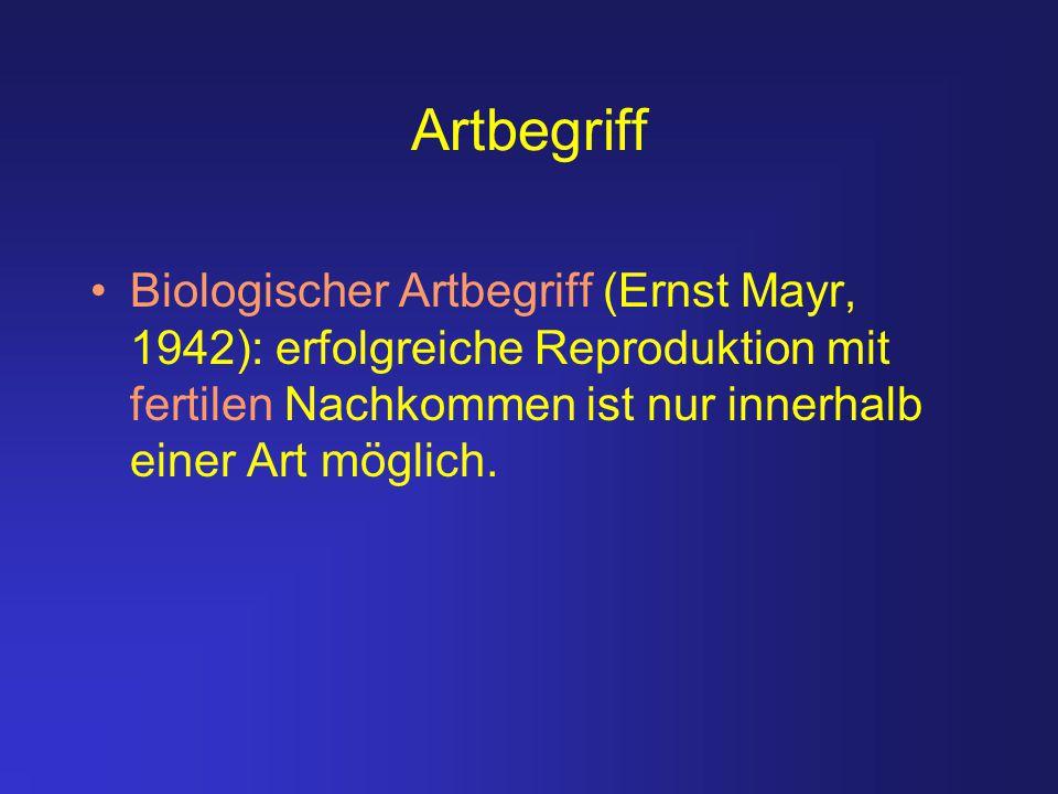 Artbegriff Biologischer Artbegriff (Ernst Mayr, 1942): erfolgreiche Reproduktion mit fertilen Nachkommen ist nur innerhalb einer Art möglich.
