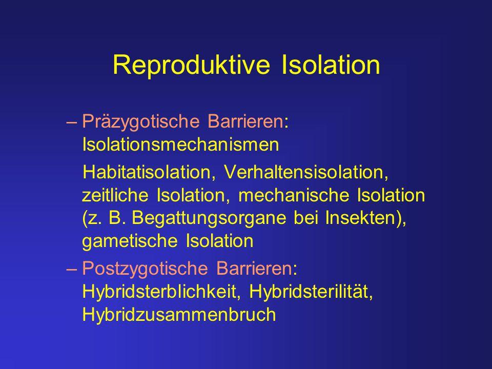 Was hält die reproduktive Isolation von Populationen aufrecht.