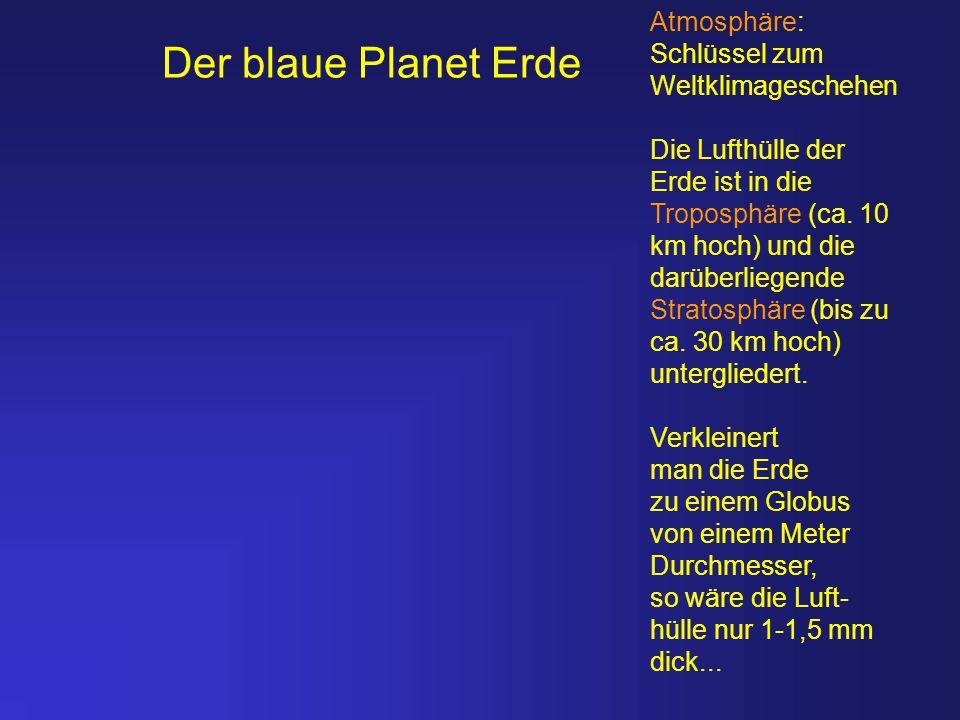 Der blaue Planet Erde Atmosphäre: Schlüssel zum Weltklimageschehen Die Lufthülle der Erde ist in die Troposphäre (ca. 10 km hoch) und die darüberliege
