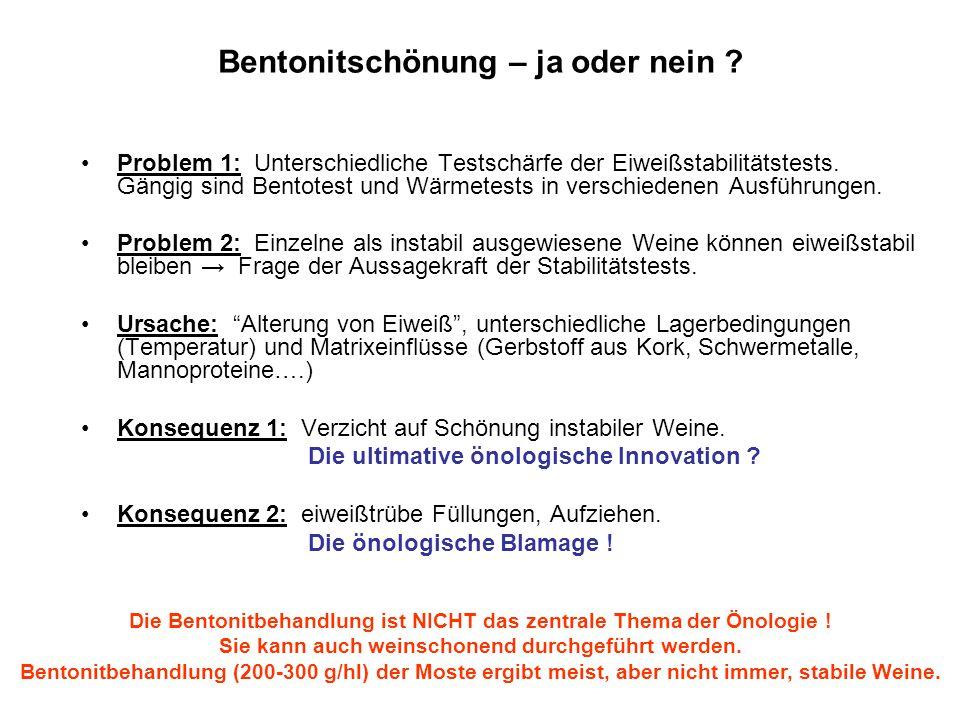 Bentonitschönung – ja oder nein ? Problem 1: Unterschiedliche Testschärfe der Eiweißstabilitätstests. Gängig sind Bentotest und Wärmetests in verschie