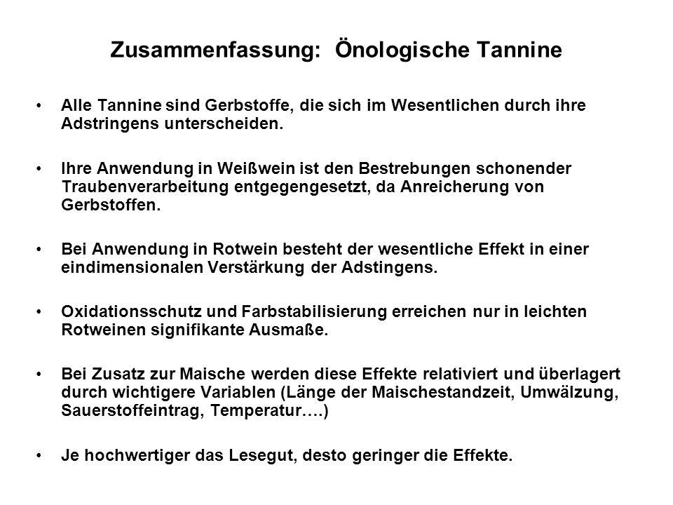 Zusammenfassung: Önologische Tannine Alle Tannine sind Gerbstoffe, die sich im Wesentlichen durch ihre Adstringens unterscheiden. Ihre Anwendung in We