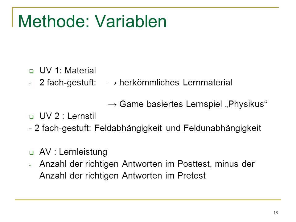 """19 Methode: Variablen  UV 1: Material - 2 fach-gestuft:→ herkömmliches Lernmaterial → Game basiertes Lernspiel """"Physikus""""  UV 2 : Lernstil - 2 fach-"""