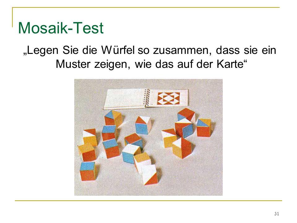 """31 Mosaik-Test """"Legen Sie die Würfel so zusammen, dass sie ein Muster zeigen, wie das auf der Karte"""""""