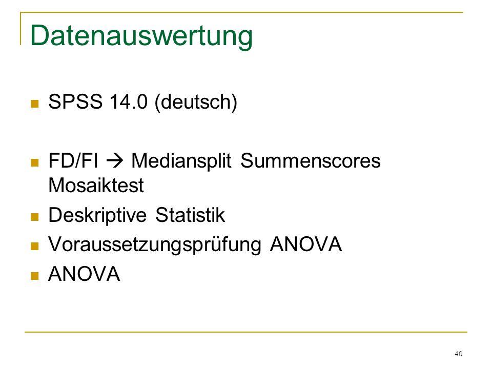 40 Datenauswertung SPSS 14.0 (deutsch) FD/FI  Mediansplit Summenscores Mosaiktest Deskriptive Statistik Voraussetzungsprüfung ANOVA ANOVA
