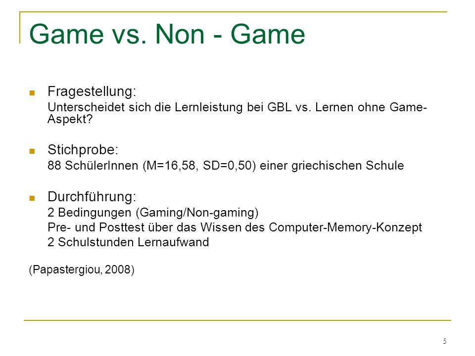 6 Material:  Game: LearnMem1  Non-Game: LearnMem2  CMKT Computer Memory Knowledge Test Ergebnisse: Signifikanzniveau =.05 Haupteffekt: F(1,83)=8,853, p =.004 Die SchülerInnen in der Game-Bedingung (M=21,28, SD=4,24) zeigten eine signifikant bessere Leistung im Posttest als die SchülerInnen in der Non-Game-Bedingung (M=18,95, SD=4,47) (Papastergiou, 2008) Game vs.