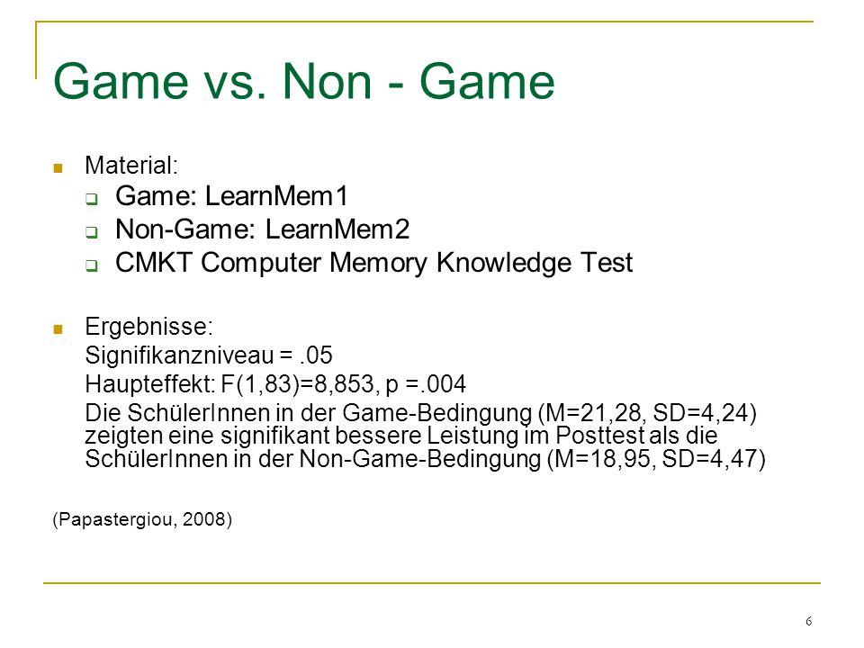 17 Statistische Hypothesen H 0 Feldunabhängige zeigen keine bessere Leistung als Feldabhängige beim Game – based – learning H 1 Feldunabhängige zeigen eine bessere Leistung als Feldabhängige beim Game – based – learning H 0 Lernende zeigen in der Game – Bedingung keine bessere Leistung als Lernende in der Non – Game – Bedingung H 1 Lernende zeigen in der Game – Bedingung eine bessere Leistung als Lernende in der Non – Game – Bedingung H 0 Es gibt keinen Unterschied zwischen Feldunabhängigen und Feldabhängigen in Abhängigkeit ihres Lernstils in der Non – Game – Bedingung H 1 Es gibt einen Unterschied zwischen Feldunabhängigen und Feldabhängigen in Abhängigkeit ihres Lernstils in der Non – Game – Bedingung