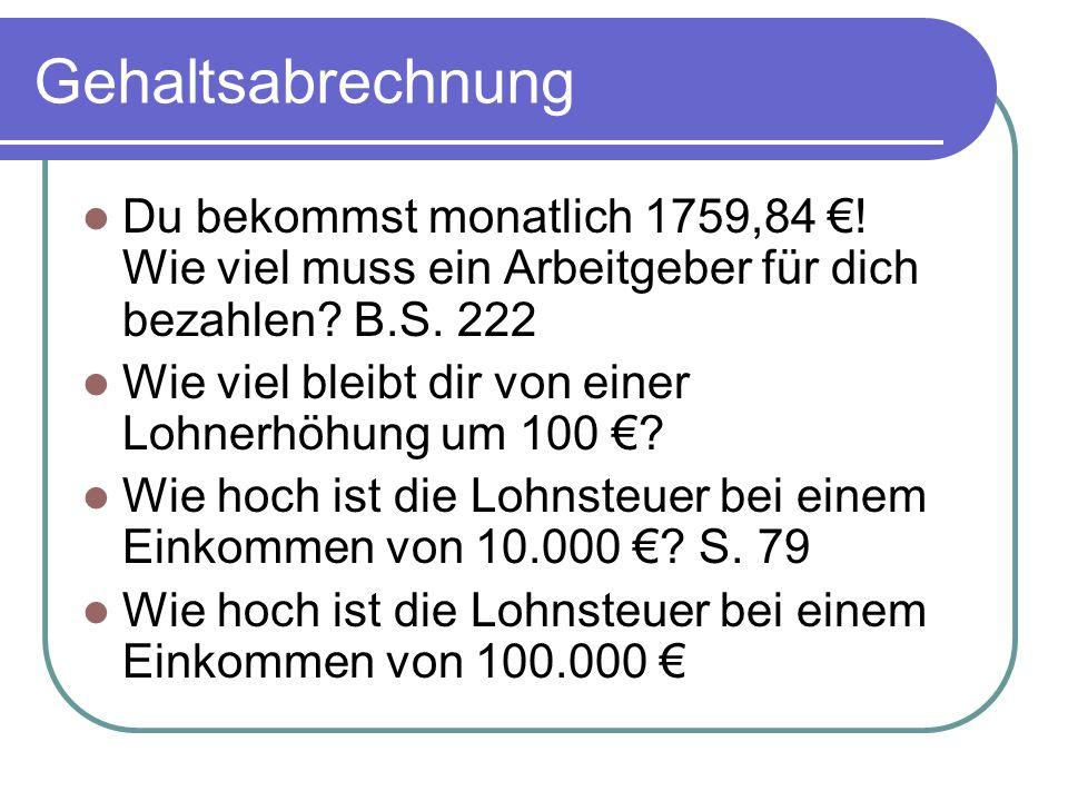 Tarif der Lohn- und Einkommenssteuer.