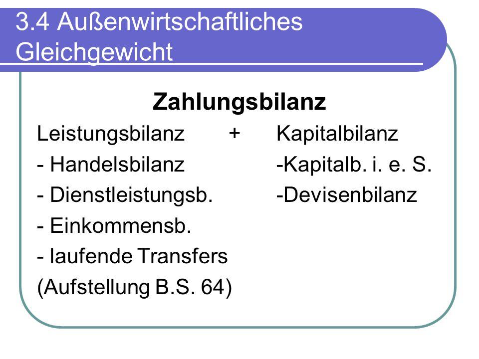 3.4 Außenwirtschaftliches Gleichgewicht Zahlungsbilanz Leistungsbilanz+Kapitalbilanz - Handelsbilanz-Kapitalb. i. e. S. - Dienstleistungsb.-Devisenbil