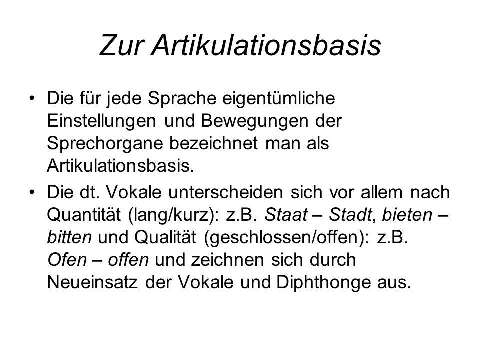 Zur Artikulationsbasis Die für jede Sprache eigentümliche Einstellungen und Bewegungen der Sprechorgane bezeichnet man als Artikulationsbasis. Die dt.