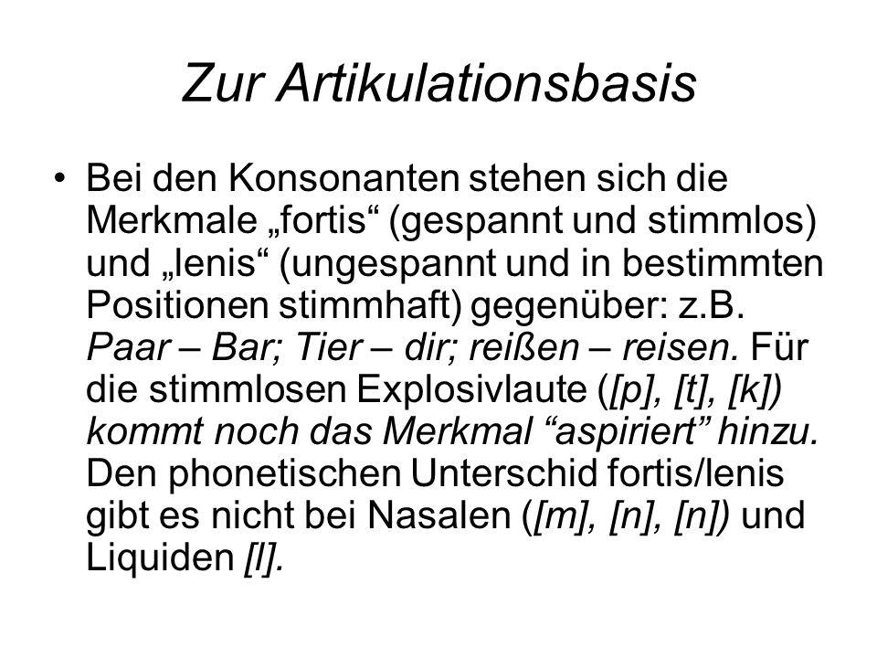 """Zur Artikulationsbasis Bei den Konsonanten stehen sich die Merkmale """"fortis"""" (gespannt und stimmlos) und """"lenis"""" (ungespannt und in bestimmten Positio"""