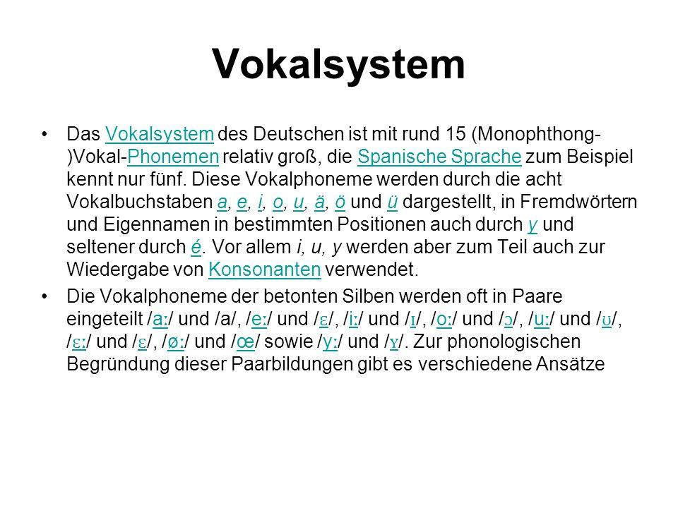 Vokalsystem Das Vokalsystem des Deutschen ist mit rund 15 (Monophthong- )Vokal-Phonemen relativ groß, die Spanische Sprache zum Beispiel kennt nur fün