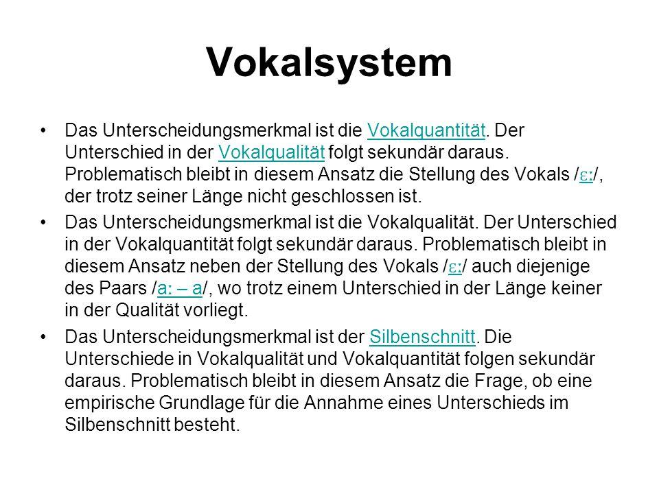 Vokalsystem Das Unterscheidungsmerkmal ist die Vokalquantität. Der Unterschied in der Vokalqualität folgt sekundär daraus. Problematisch bleibt in die