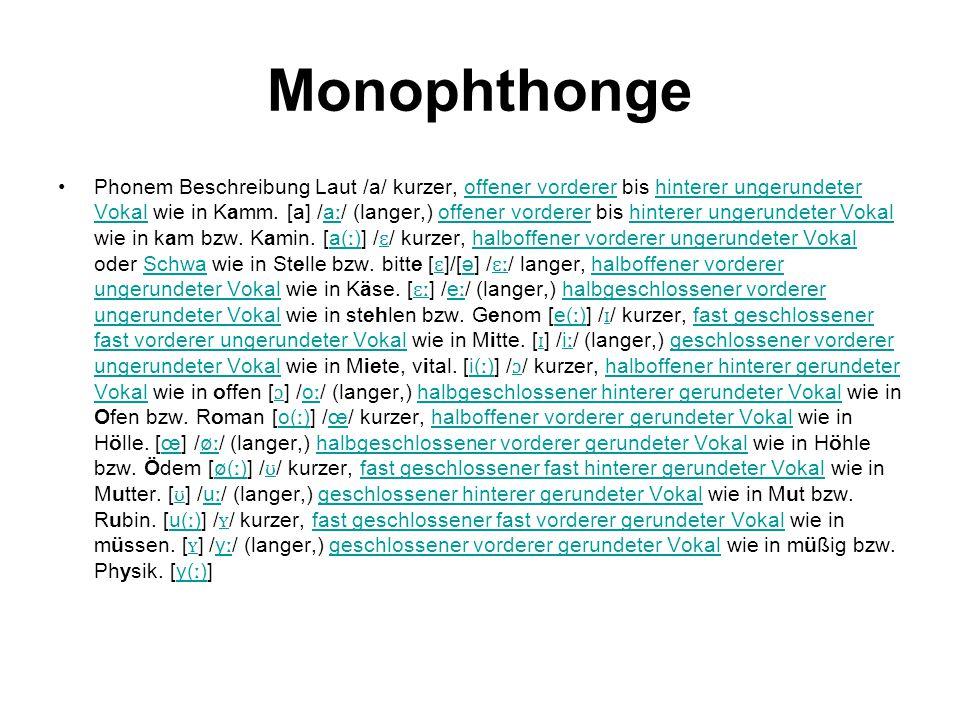 Monophthonge Phonem Beschreibung Laut /a/ kurzer, offener vorderer bis hinterer ungerundeter Vokal wie in Kamm. [a] /a ː / (langer,) offener vorderer