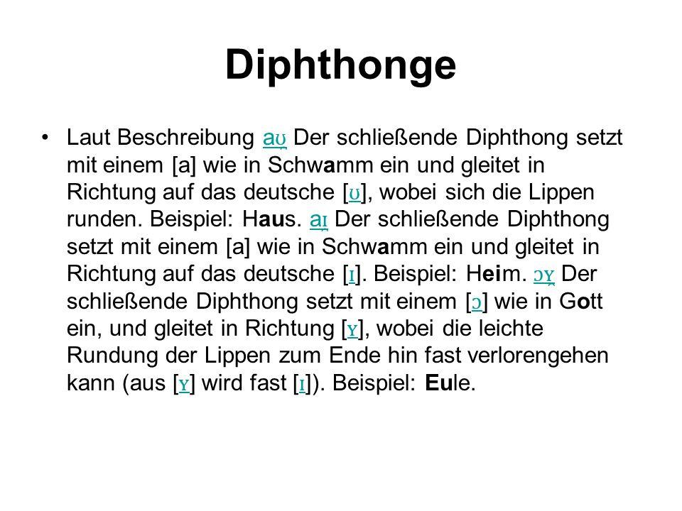 Diphthonge Laut Beschreibung a ʊ̯ Der schließende Diphthong setzt mit einem [a] wie in Schwamm ein und gleitet in Richtung auf das deutsche [ ʊ ], wob