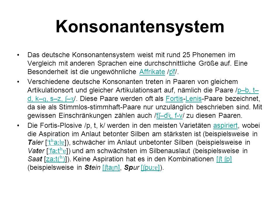 Konsonantensystem Das deutsche Konsonantensystem weist mit rund 25 Phonemen im Vergleich mit anderen Sprachen eine durchschnittliche Größe auf. Eine B