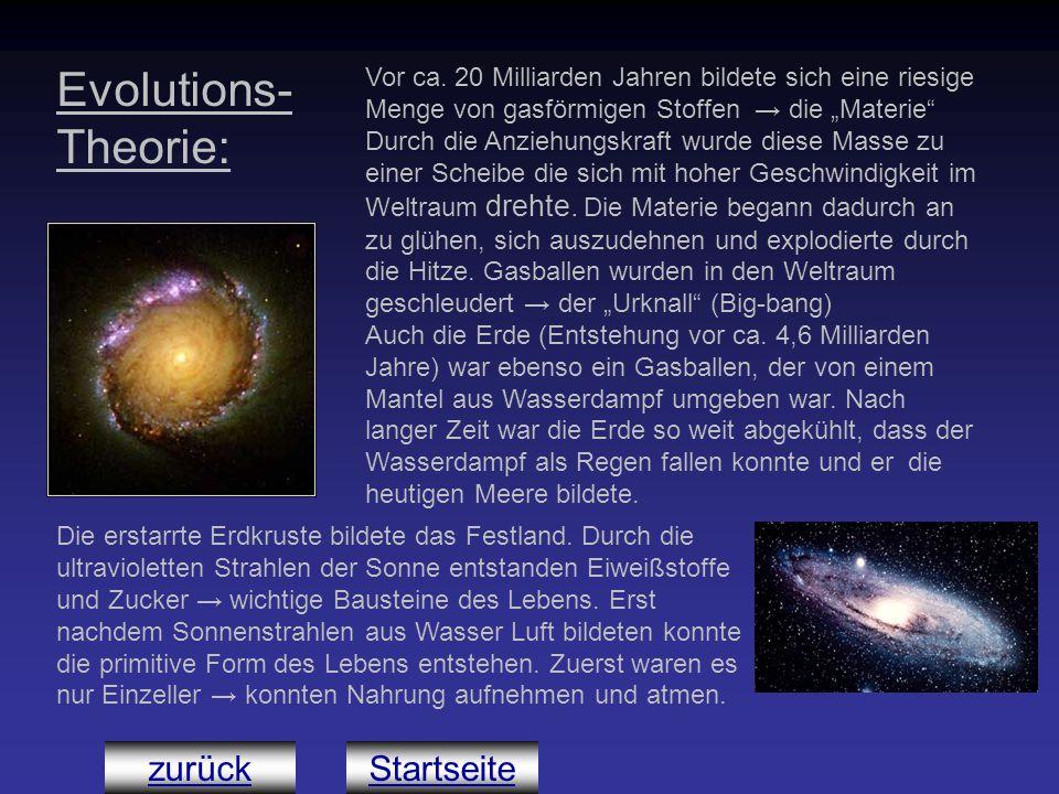 """zurück Evolutions- Theorie: Vor ca. 20 Milliarden Jahren bildete sich eine riesige Menge von gasförmigen Stoffen → die """"Materie"""" Durch die Anziehungsk"""