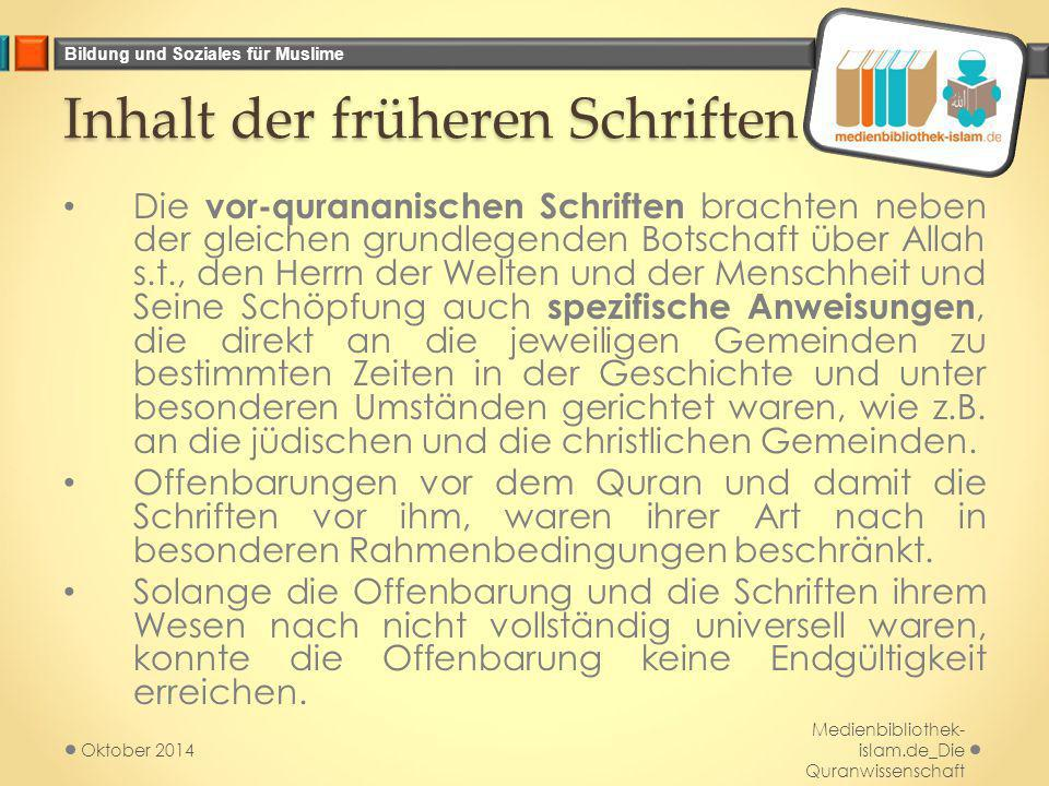Bildung und Soziales für Muslime Die letzte Offenbarung Muhammad s.a.s.