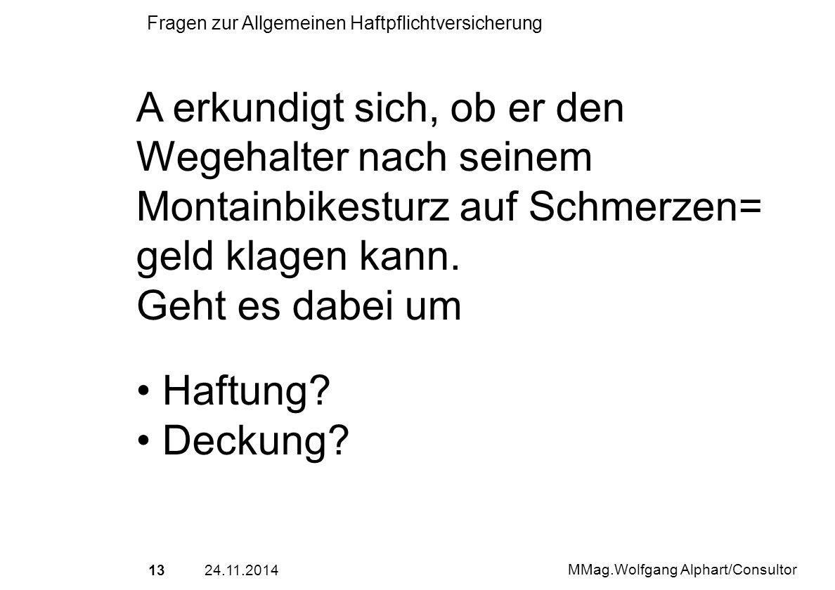 1324.11.2014 MMag.Wolfgang Alphart/Consultor Fragen zur Allgemeinen Haftpflichtversicherung A erkundigt sich, ob er den Wegehalter nach seinem Montain