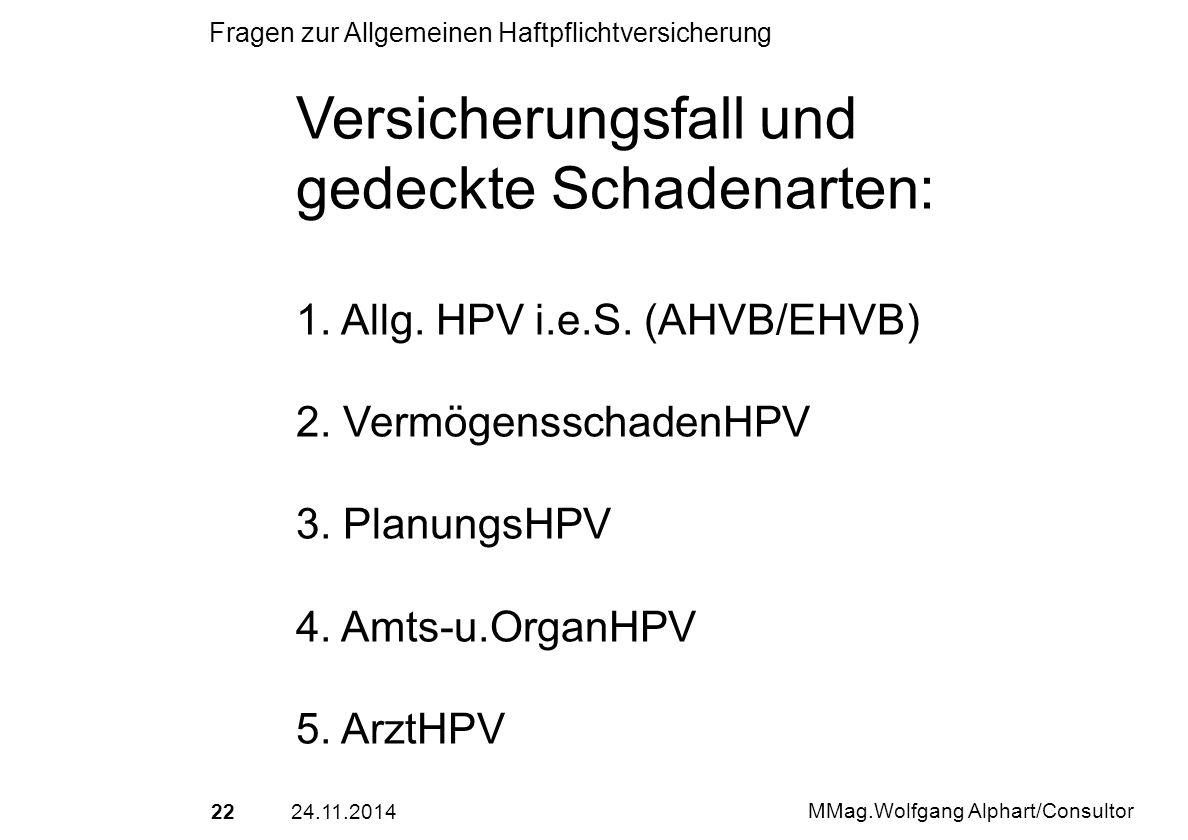 2224.11.2014 MMag.Wolfgang Alphart/Consultor Fragen zur Allgemeinen Haftpflichtversicherung Versicherungsfall und gedeckte Schadenarten: 1. Allg. HPV