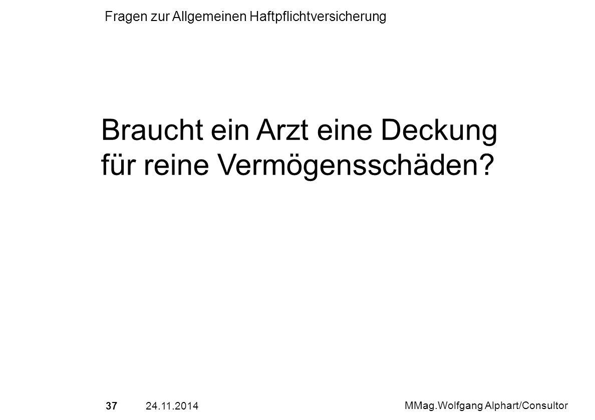 3724.11.2014 MMag.Wolfgang Alphart/Consultor Fragen zur Allgemeinen Haftpflichtversicherung Braucht ein Arzt eine Deckung für reine Vermögensschäden?