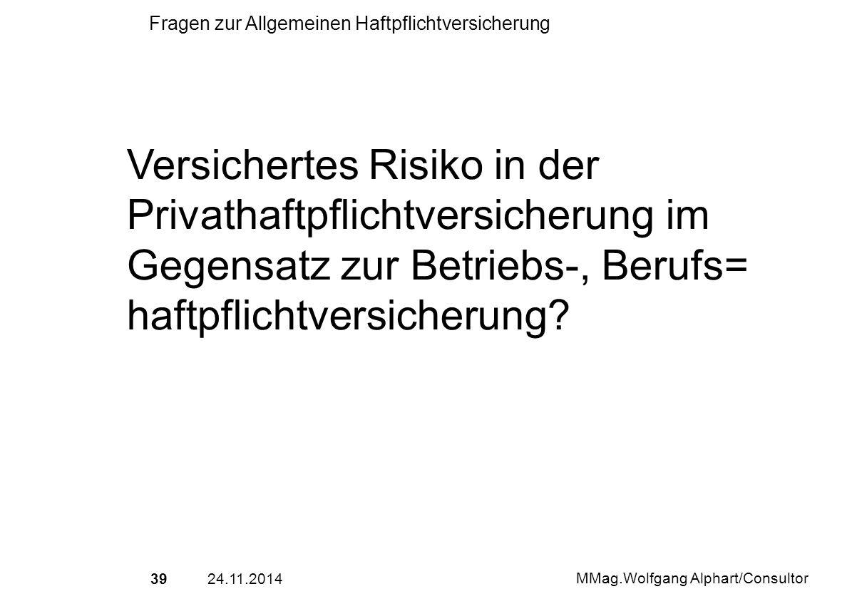 3924.11.2014 MMag.Wolfgang Alphart/Consultor Fragen zur Allgemeinen Haftpflichtversicherung Versichertes Risiko in der Privathaftpflichtversicherung i