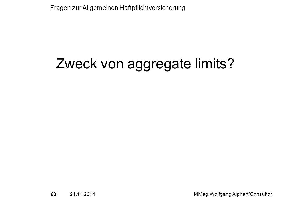 6324.11.2014 MMag.Wolfgang Alphart/Consultor Fragen zur Allgemeinen Haftpflichtversicherung Zweck von aggregate limits?