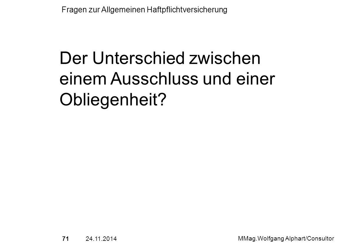 7124.11.2014 MMag.Wolfgang Alphart/Consultor Fragen zur Allgemeinen Haftpflichtversicherung Der Unterschied zwischen einem Ausschluss und einer Oblieg