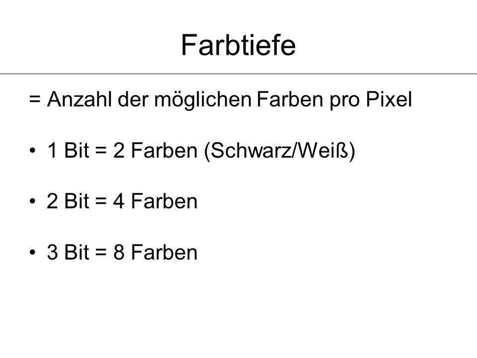 Farbtiefe = Anzahl der möglichen Farben pro Pixel 1 Bit = 2 Farben (Schwarz/Weiß) 2 Bit = 4 Farben 3 Bit = 8 Farben