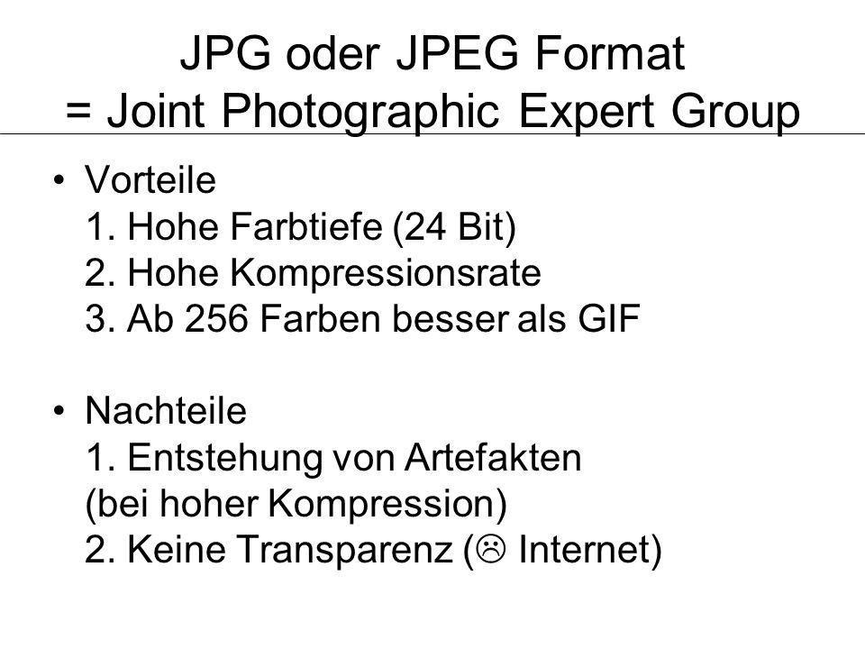 JPG oder JPEG Format = Joint Photographic Expert Group Vorteile 1. Hohe Farbtiefe (24 Bit) 2. Hohe Kompressionsrate 3. Ab 256 Farben besser als GIF Na