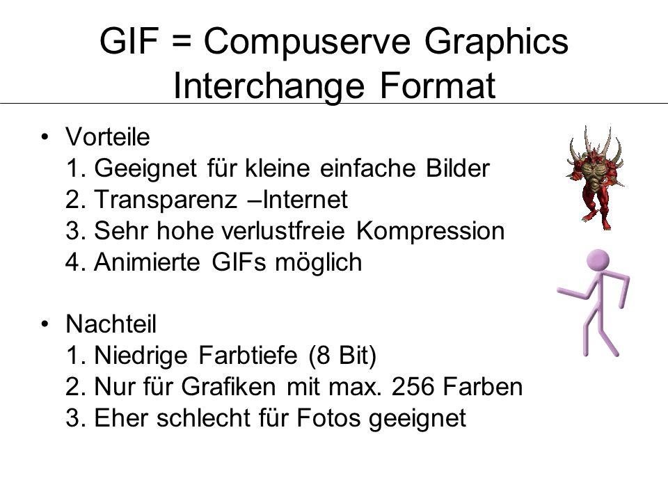 GIF = Compuserve Graphics Interchange Format Vorteile 1. Geeignet für kleine einfache Bilder 2. Transparenz –Internet 3. Sehr hohe verlustfreie Kompre