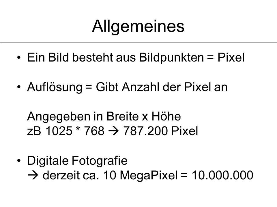 Allgemeines Ein Bild besteht aus Bildpunkten = Pixel Auflösung = Gibt Anzahl der Pixel an Angegeben in Breite x Höhe zB 1025 * 768  787.200 Pixel Dig