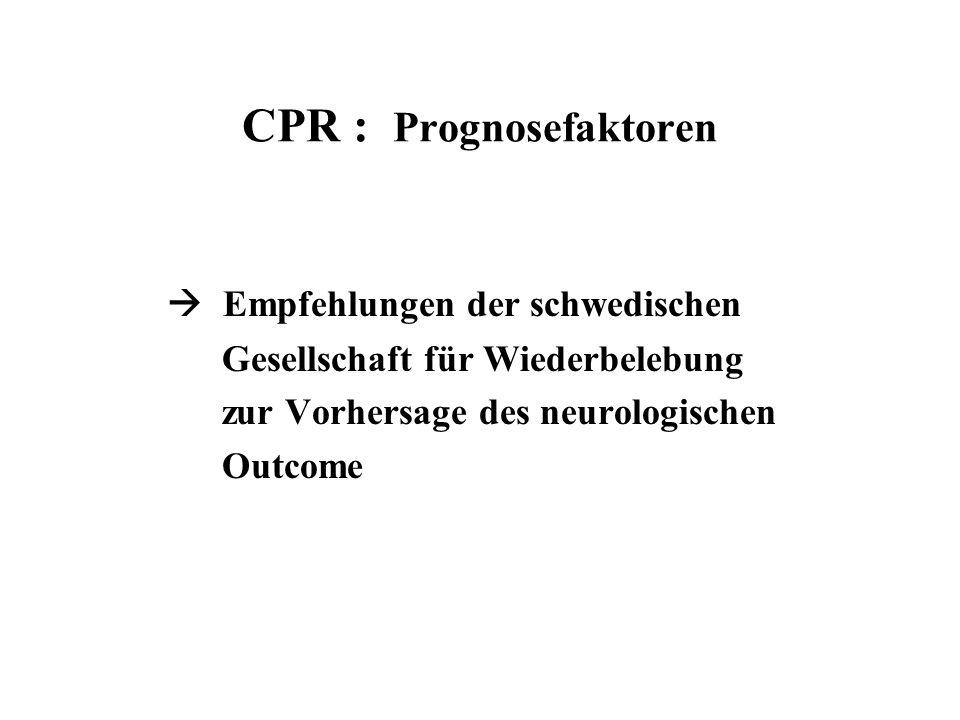 CPR : Prognosefaktoren  Empfehlungen der schwedischen Gesellschaft für Wiederbelebung zur Vorhersage des neurologischen Outcome