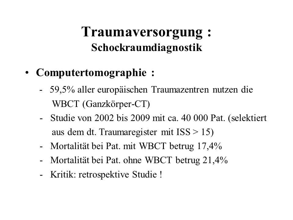 Traumaversorgung : Schockraumdiagnostik Computertomographie : - 59,5% aller europäischen Traumazentren nutzen die WBCT (Ganzkörper-CT) - Studie von 20