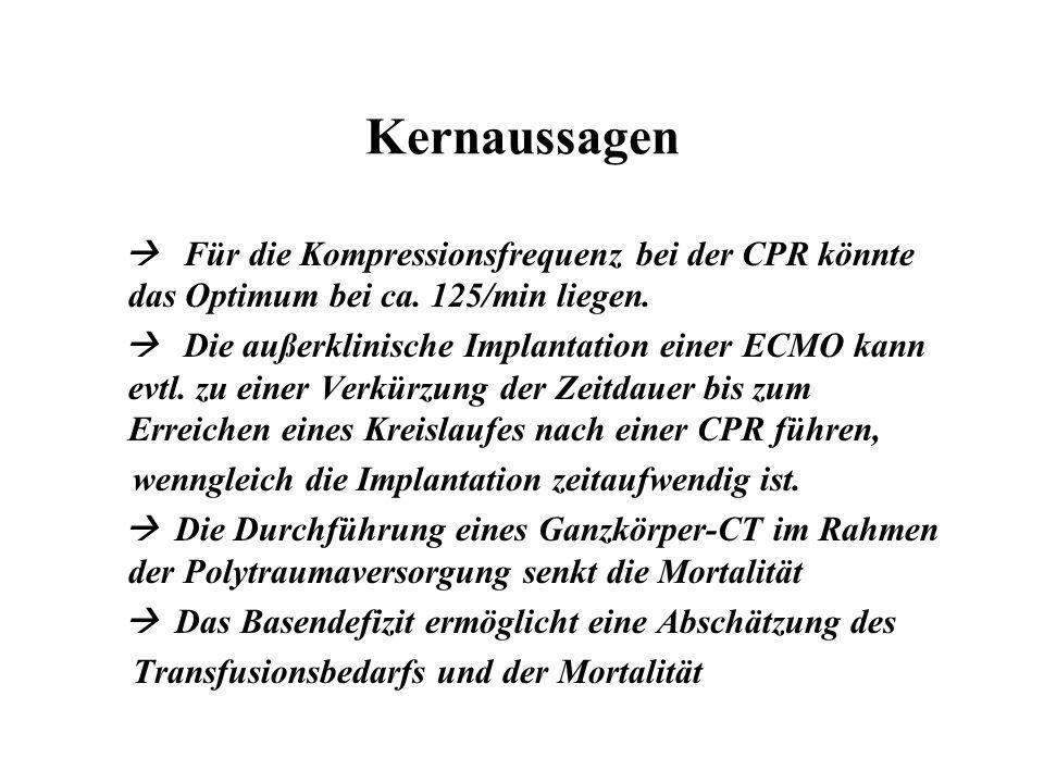 Kernaussagen  Für die Kompressionsfrequenz bei der CPR könnte das Optimum bei ca. 125/min liegen.  Die außerklinische Implantation einer ECMO kann e