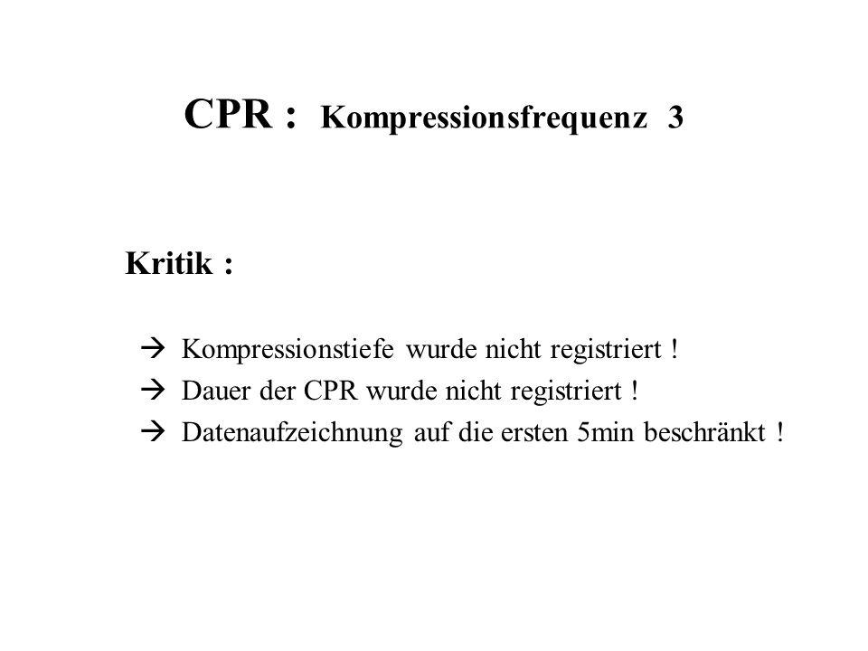 CPR : Kompressionsfrequenz 3 Kritik :  Kompressionstiefe wurde nicht registriert !  Dauer der CPR wurde nicht registriert !  Datenaufzeichnung auf