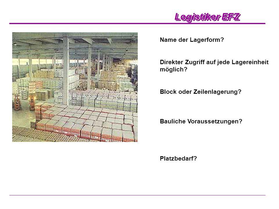 Logistiker EFZ Name der Lagerform? Direkter Zugriff auf jede Lagereinheit möglich? Block oder Zeilenlagerung? Bauliche Voraussetzungen? Platzbedarf?