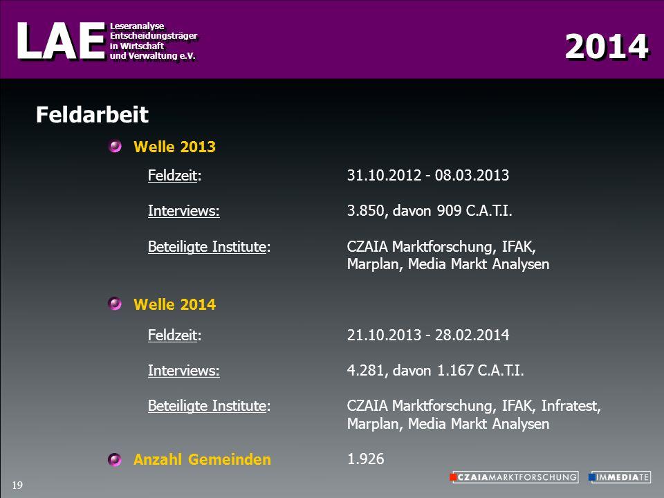 2014 LAE Leseranalyse Entscheidungsträger in Wirtschaft und Verwaltung e.V. Leseranalyse Entscheidungsträger in Wirtschaft und Verwaltung e.V. 19 Feld