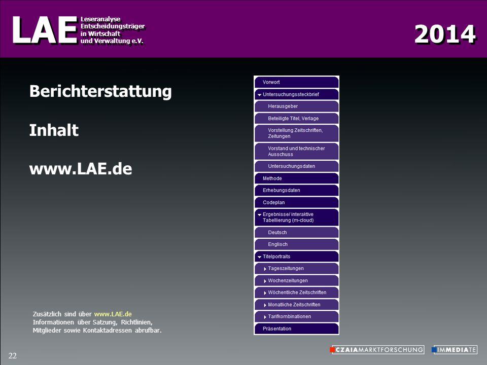 2014 LAE Leseranalyse Entscheidungsträger in Wirtschaft und Verwaltung e.V. Leseranalyse Entscheidungsträger in Wirtschaft und Verwaltung e.V. 22 Beri