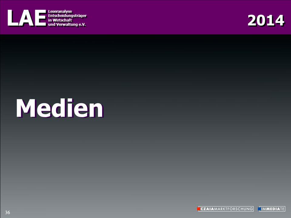2014 LAE Leseranalyse Entscheidungsträger in Wirtschaft und Verwaltung e.V. Leseranalyse Entscheidungsträger in Wirtschaft und Verwaltung e.V. 36 Medi