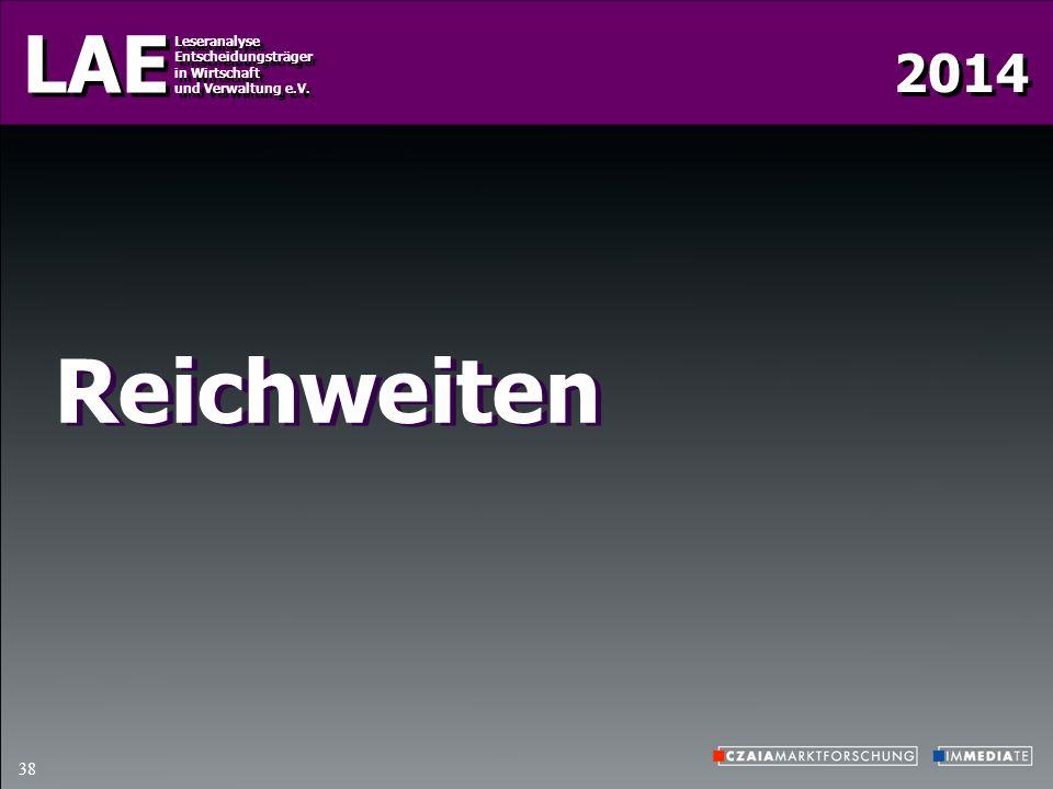 2014 LAE Leseranalyse Entscheidungsträger in Wirtschaft und Verwaltung e.V. Leseranalyse Entscheidungsträger in Wirtschaft und Verwaltung e.V. 38 Reic