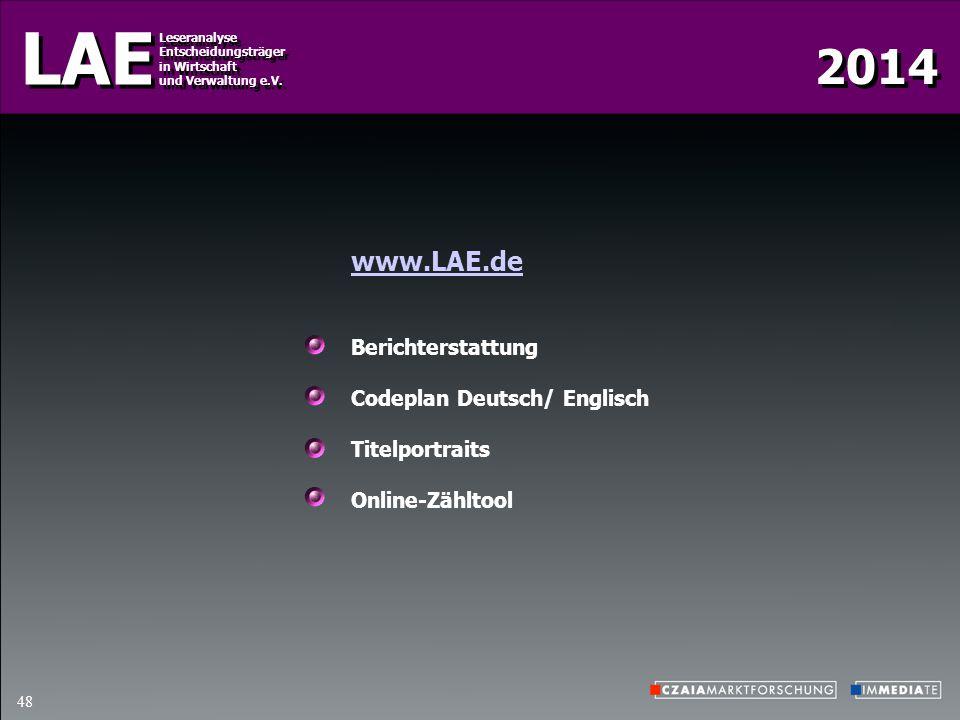 2014 LAE Leseranalyse Entscheidungsträger in Wirtschaft und Verwaltung e.V. Leseranalyse Entscheidungsträger in Wirtschaft und Verwaltung e.V. 48 www.