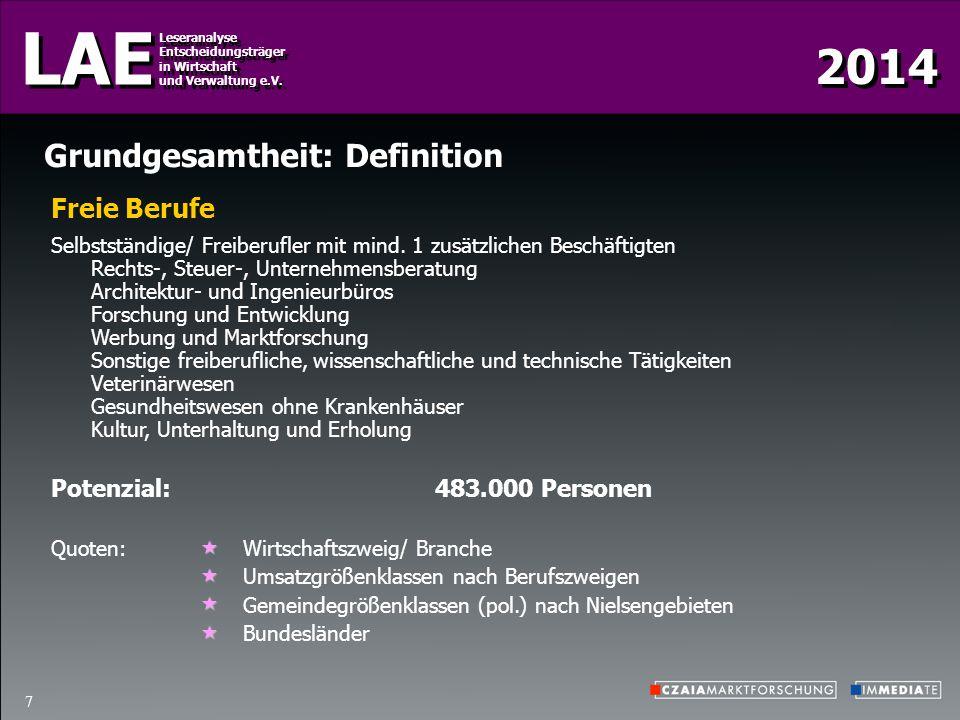 2014 LAE Leseranalyse Entscheidungsträger in Wirtschaft und Verwaltung e.V. Leseranalyse Entscheidungsträger in Wirtschaft und Verwaltung e.V. 7 Grund