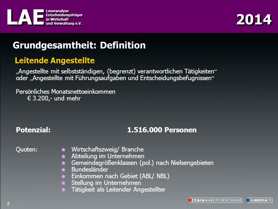2014 LAE Leseranalyse Entscheidungsträger in Wirtschaft und Verwaltung e.V. Leseranalyse Entscheidungsträger in Wirtschaft und Verwaltung e.V. 8 Grund