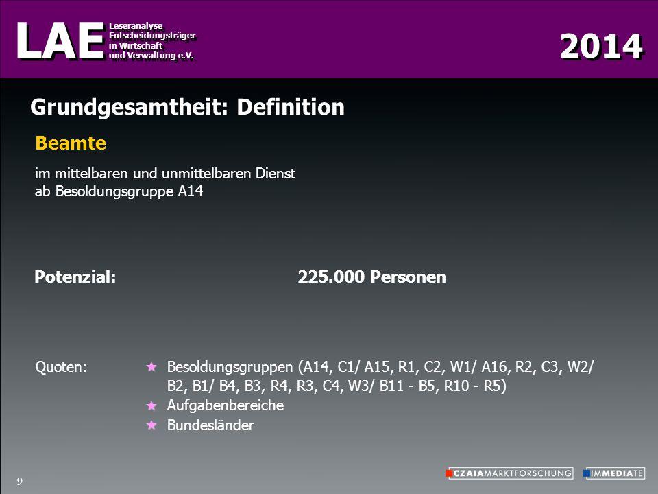 2014 LAE Leseranalyse Entscheidungsträger in Wirtschaft und Verwaltung e.V. Leseranalyse Entscheidungsträger in Wirtschaft und Verwaltung e.V. 9 Grund