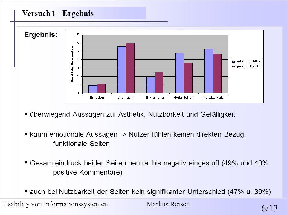 WAMMI-Ergebnis unterstützt diese Befunde: keine statistischen Unterschiede (3.30 und 3.08 Punkte) beide Seiten nicht sehr gebrauchstauglich (42,15% und 34,80%) Wortwahl nicht abhängig von repräsentiertem Industriesektor Browsing-Verhalten von Erwartungen/Erfahrungen bestimmt (Whitfield) Folgerungen: Interview und WAMMI zur Erfassung von Nutzereindrücken geeignet Nutzbarkeit wird von Nutzern wahrgenommen keine Auswirkungen der veränderten absoluten Gebrauchstauglichkeit, Nutzbarkeit und Erscheinungsbild einhergehend (Tractinsky) Usability von Informationssystemen Markus Reisch 7/13 Versuch 1 - Ergebnis