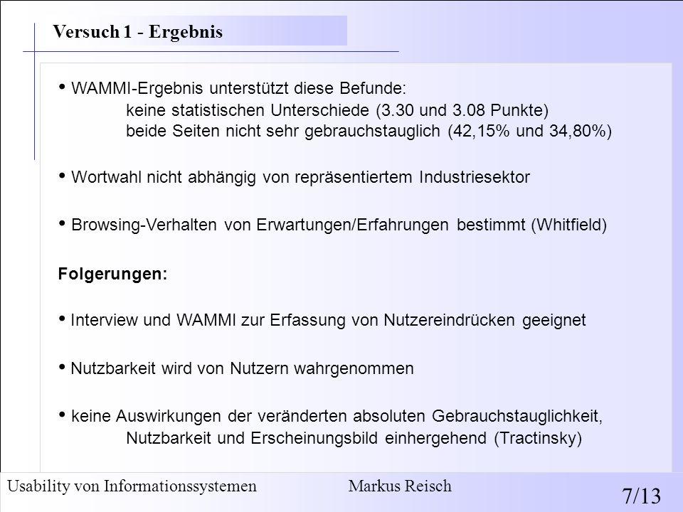WAMMI-Ergebnis unterstützt diese Befunde: keine statistischen Unterschiede (3.30 und 3.08 Punkte) beide Seiten nicht sehr gebrauchstauglich (42,15% un