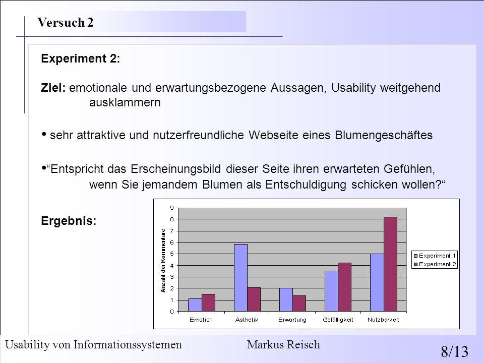 Experiment 2: Ziel: emotionale und erwartungsbezogene Aussagen, Usability weitgehend ausklammern sehr attraktive und nutzerfreundliche Webseite eines