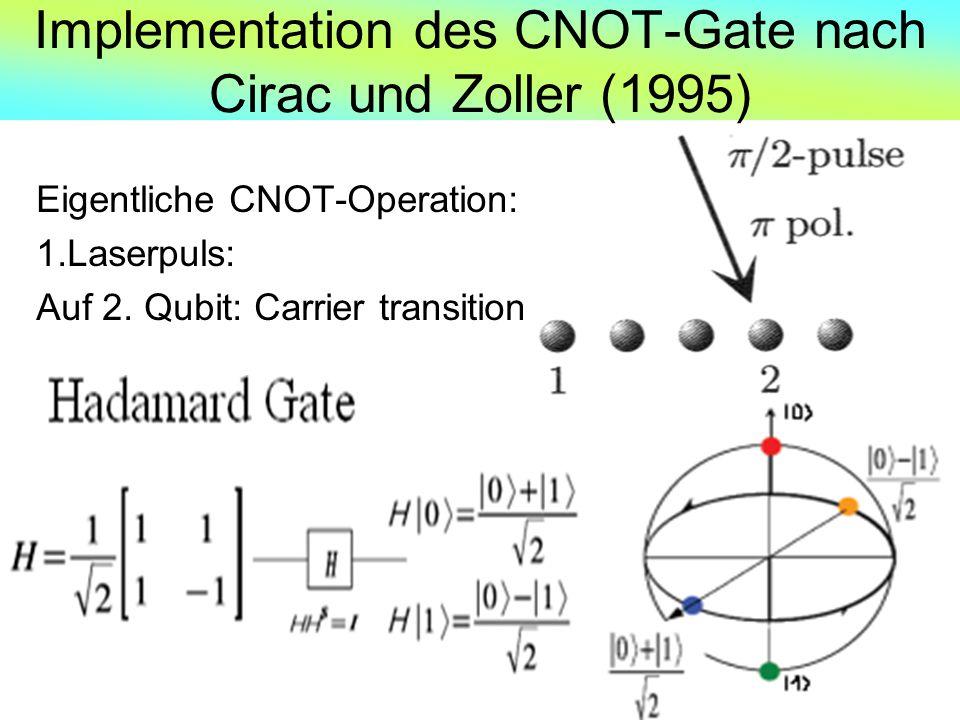 Implementation des CNOT-Gate nach Cirac und Zoller (1995) Eigentliche CNOT-Operation: 1.Laserpuls: Auf 2. Qubit: Carrier transition