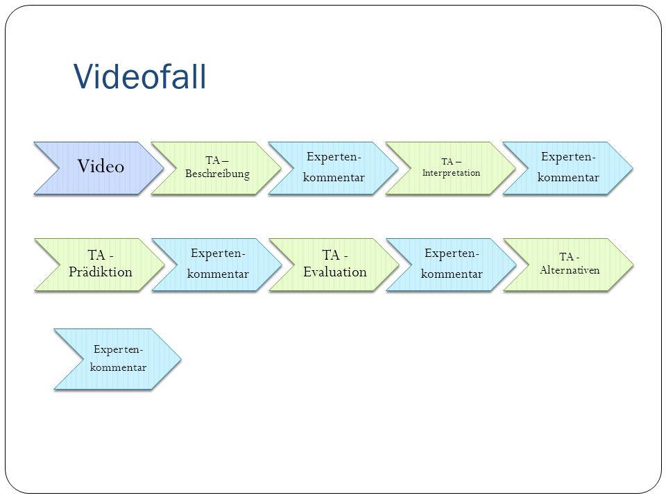 Videofall Video TA – Beschreibung Experten- kommentar TA – Interpretation Experten- kommentar TA - Prädiktion Experten- kommentar TA - Evaluation Experten- kommentar TA - Alternativen Experten- kommentar
